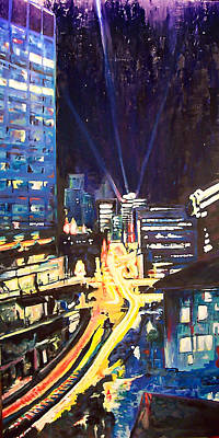 Painting - City At Night by Alan Schwartz
