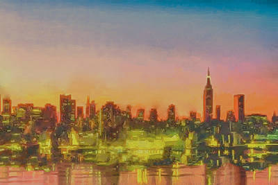 City Sunset Painting - City At Sunset by Anthony Caruso