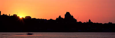 Grand Hotels Photograph - City At Sunset, Chateau Frontenac by Panoramic Images