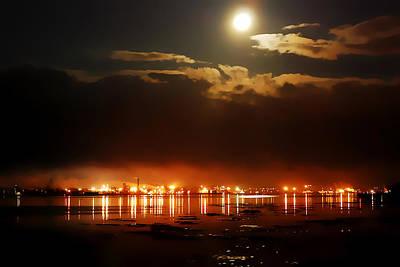 City At The Water In Night /  Full Moon Original