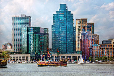 Harbor Scene Wall Art - Photograph - City - Baltimore Md - Harbor East  by Mike Savad