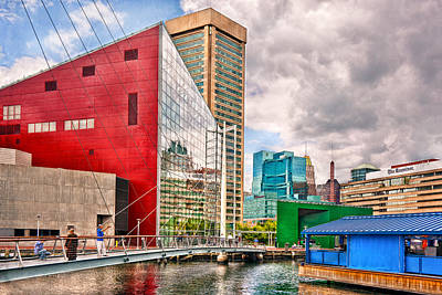 City - Baltimore Md - Harbor Place - Future City  Art Print by Mike Savad