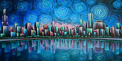Absinthe Painting - City By Starlight by Jim Figora