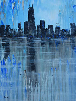 Drips Painting - City By The Lake by Chad Rice