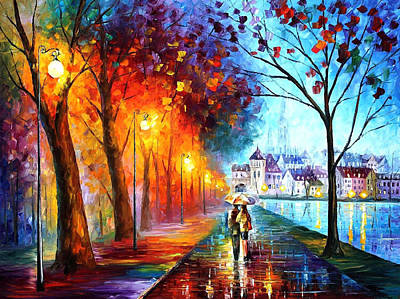 City By The Lake - Palette Knife Oil Painting On Canvas By Leonid Afremov Original by Leonid Afremov