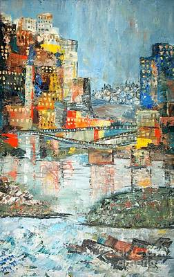 City By The River - Sold Art Print by Judith Espinoza