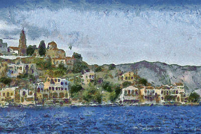 Hills Drawing - City By The Sea by Ayse Deniz