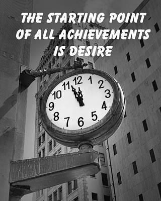 Photograph - City Clock Quote-1 by Rudy Umans