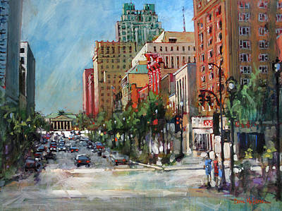 City Scape Painting - City Color by Dan Nelson