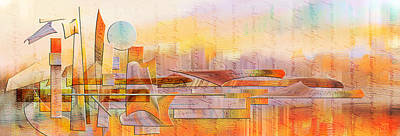 Painting - City Commerce Panoramic by Jean Moore