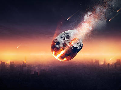 Science Fiction Royalty Free Images - City destroyed by meteor shower Royalty-Free Image by Johan Swanepoel