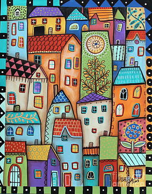 Folk Art Flowers Painting - City Digs by Karla Gerard