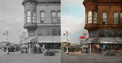 Window Signs Photograph - City - Dillon Montana - Today's My Day Off - 1942 - Side By Side by Mike Savad