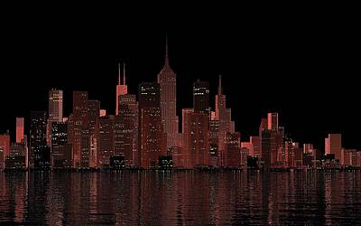 Digital Art - Chicago City Dusk by Louis Ferreira