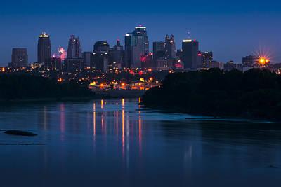 Photograph - City Fireworks by Ryan Heffron