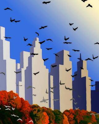 Digital Art - City From The Park by Timothy Bulone