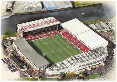Sports Paintings - City Ground - Nottingham Forest by Kevin Fletcher