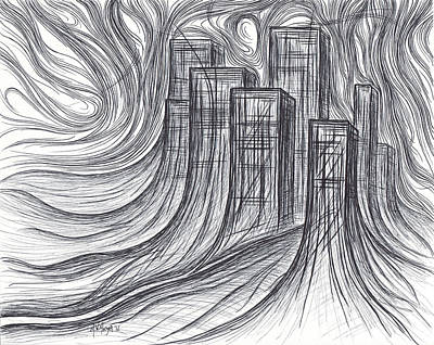 Drawing - City Growth by Michael Morgan