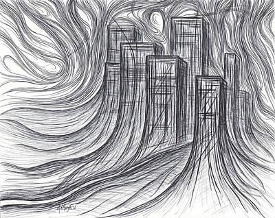 Swirly Drawing - City Growth by Michael Morgan