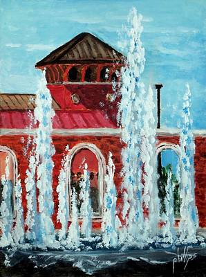 Cityhall Painting - City Hall And Fountain by Jim Phillips