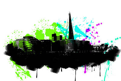 City Hall Digital Art - City Hall And The Shard London by Roger Lighterness