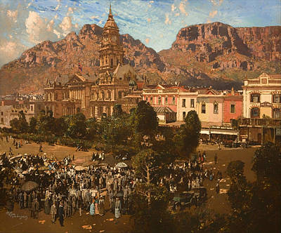 City Hall Painting - City Hall - Capetown 1917 by Mountain Dreams