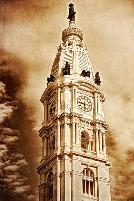 Photograph - Tower Of City Hall - Downtown Philadelphia - One Penn Square by Photography  By Sai