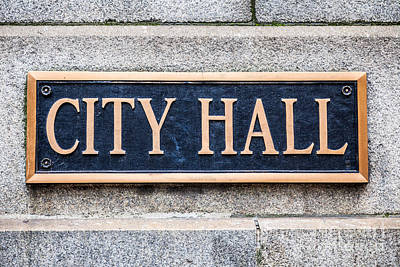 City Hall Municipal Sign In Chicago Art Print