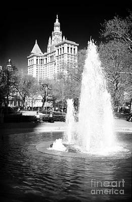 Photograph - City Hall Park Fountain 1990s by John Rizzuto