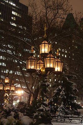 Photograph - City Hall Park Lights by Vadim Levin