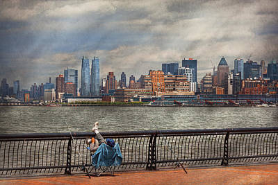Photograph - City - Hoboken Nj - Fishing - The Good Life  by Mike Savad