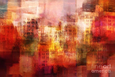 Abstract City Painting - City Imagination by Lutz Baar