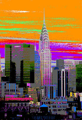 Chrysler Building Mixed Media - New York City Skyline In Orange by Habib Ayat