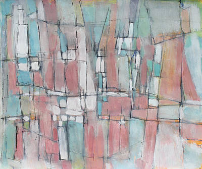 City In Peach And Turquoise Art Print by Hari Thomas