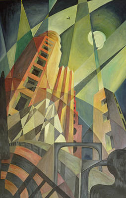 City In Shards Of Light Oil On Canvas Art Print