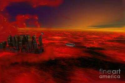 City In The Sky Art Print by John Kreiter