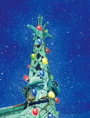 Painting - City Island Bridge Christmas Tree by Marguerite Chadwick-Juner