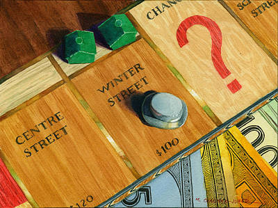 Game Piece Painting - City Island Monopoly Iv by Marguerite Chadwick-Juner