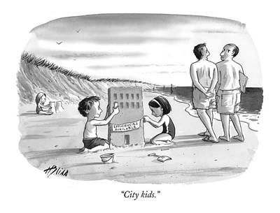 Sand Castles Drawing - City Kids by Harry Bliss