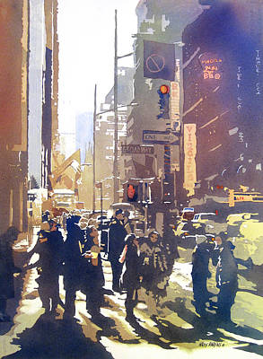 Crowd Scene Painting - City Light by Kris Parins