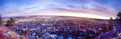 Photograph - City Lights Boulder Colorado Panorama Sunrise by James BO  Insogna