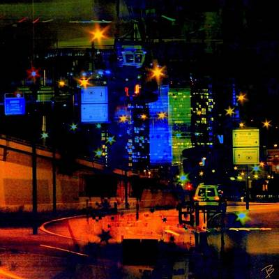 Abstract Skyline Photograph - City Lights by Barbs Popart