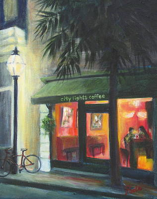 Painting - City Lights On Market St. by Pamela Poole