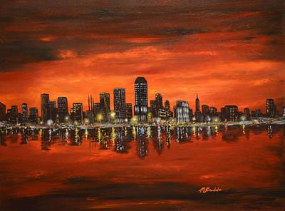 City Lights On The Water Original by Michael Brumbeloe