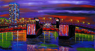 City Lights Over Morrison Bridge 6 Art Print by Portland Art Creations