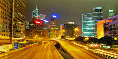 Digital Art - City Lights by Walter Colvin