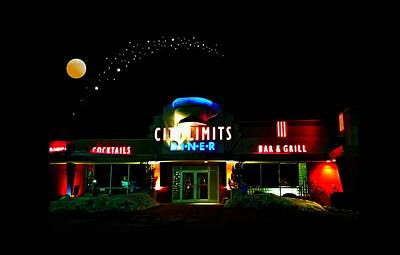 City Limits Diner Under Stars Art Print by Diana Angstadt