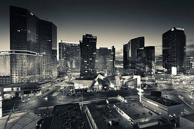 City Lit Up At Dusk, Citycenter Las Art Print