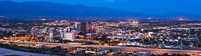 Tucson Photograph - City Lit Up At Dusk, Tucson, Pima by Panoramic Images