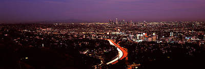Crowd Scene Photograph - City Lit Up At Night, City Of Los by Panoramic Images